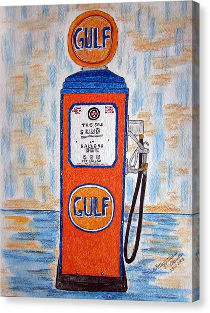 Gulf Gas Pump Canvas Print