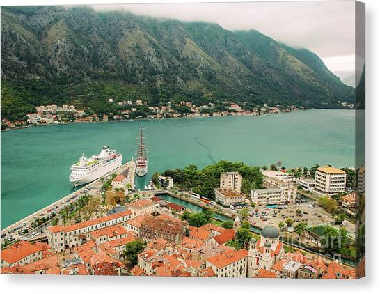Gulf Of Kotor With Cruise Liner Canvas Print