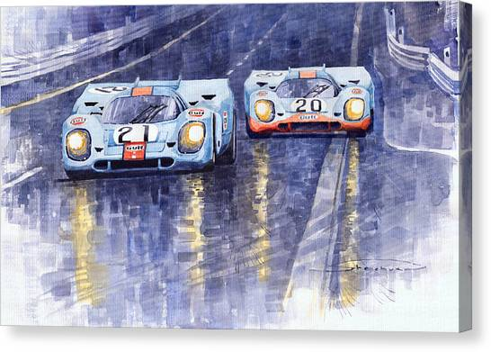 Sports Cars Canvas Print - Gulf-porsche 917 K Spa Francorchamps 1970 by Yuriy Shevchuk