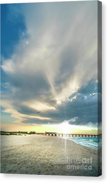 Gulf Shores Al Pier Seascape Sunrise 152a Canvas Print