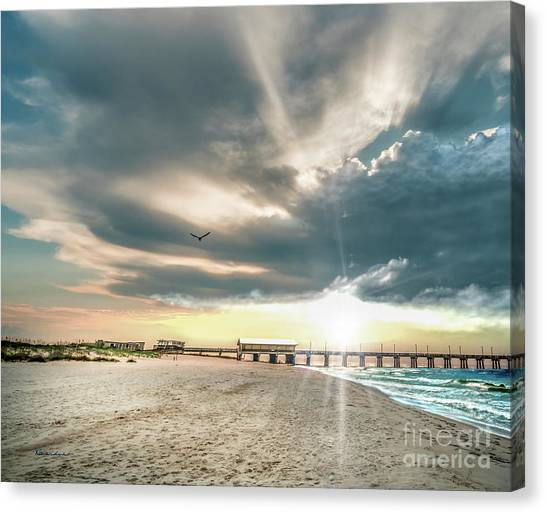 Gulf Shores Al Pier Seascape Sunrise 152c Canvas Print