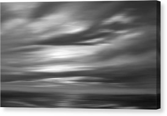 Gulf Sunset In Black And White Canvas Print by Leonard Frederick