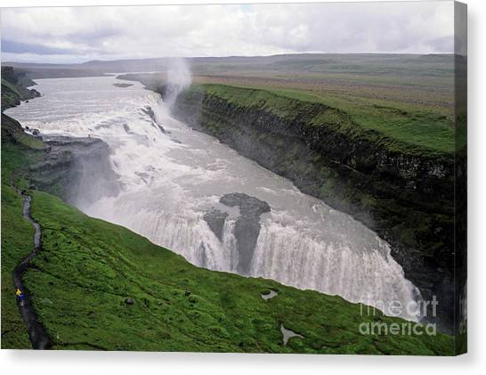 Gullfoss A Powerful Waterfall In The Canyon Of The Hvita River Canvas Print by Sami Sarkis