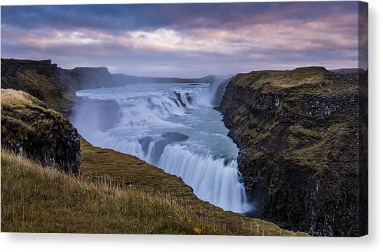 Canvas Print featuring the photograph Gullfoss, Sunrise by James Billings