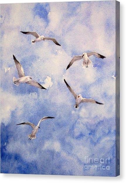 Gulls Is Flight Canvas Print