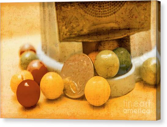Coins Canvas Print - Gumballs Dispenser Antiques by Jorgo Photography - Wall Art Gallery