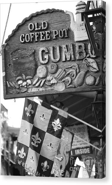 Gumbo Canvas Print - Gumbo Sign - Black And White by Carol Groenen