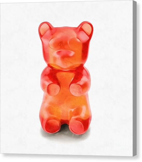 Canvas Print featuring the digital art Gummy Bear Red Orange by Edward Fielding