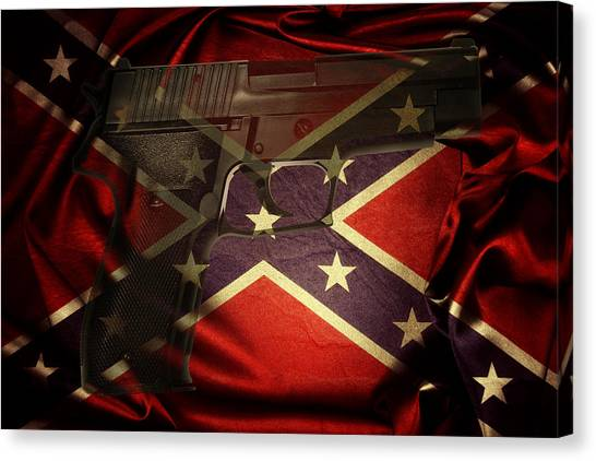 Rights Canvas Print - Gun And Confederate Flag by Les Cunliffe