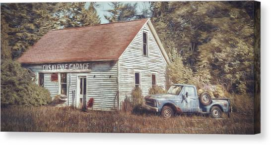 Old Trucks Canvas Print - Gus Klenke Garage by Scott Norris