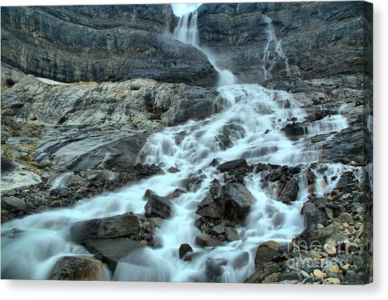 Canada Glacier Canvas Print - Gushing Bow Glacier Falls Landscape by Adam Jewell