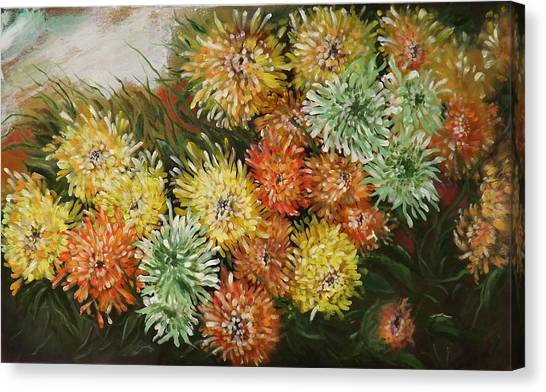 Gusty Chrysanthemums Canvas Print