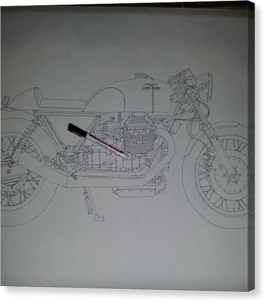 Transportation Canvas Print - Guzzi En Proceso #motorcycle #motogp by Drawspots Illustrations