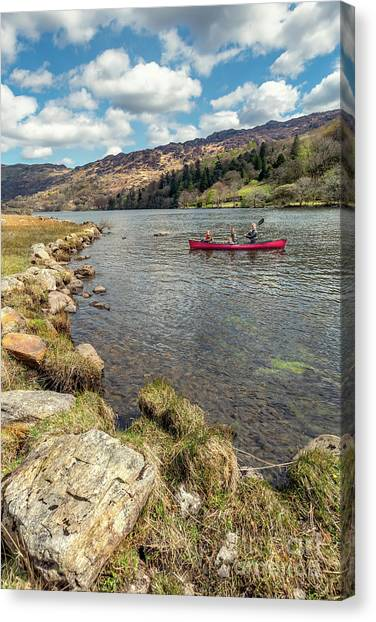 Mountain View Canvas Print - Gwynant Lake Canoeing by Adrian Evans