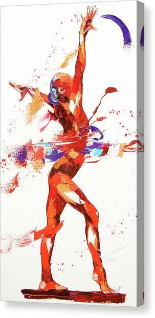 Balance Beam Canvas Print - Gymnast Four by Penny Warden