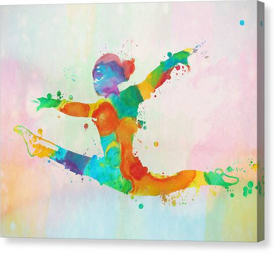 Balance Beam Canvas Print - Gymnast Leap Paint Splatter by Dan Sproul