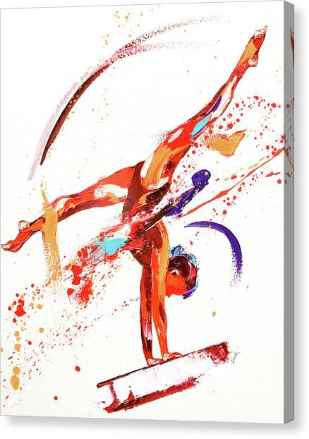 Vault Canvas Print - Gymnast One by Penny Warden