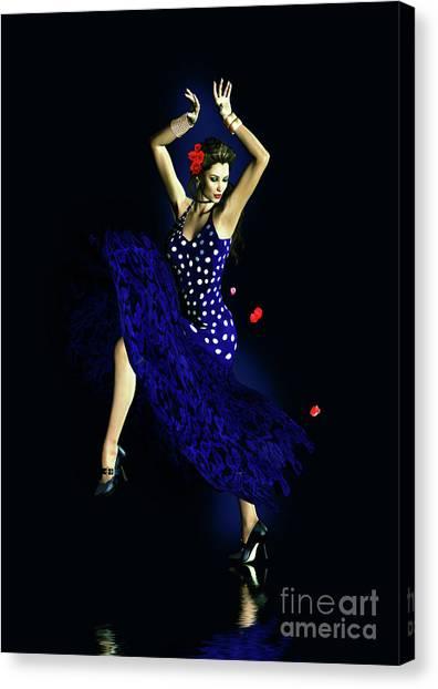 Flamenco Canvas Print - Gypsy Blue by Shanina Conway