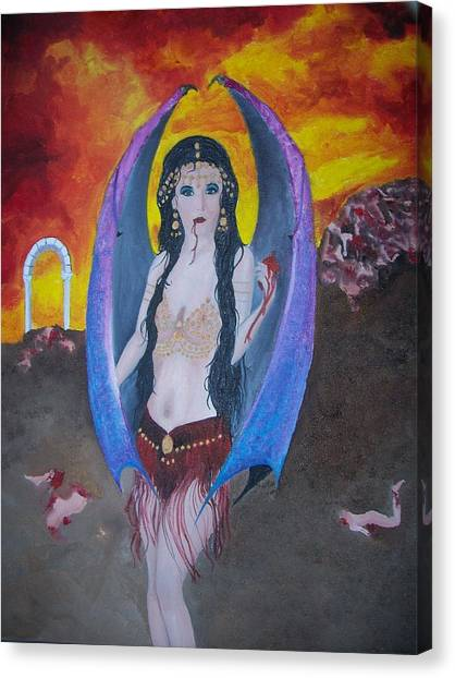Pigatopia Canvas Print - Gypsy Demon Original Oil On Canvas Painting By Pigatopia by Shannon Ivins