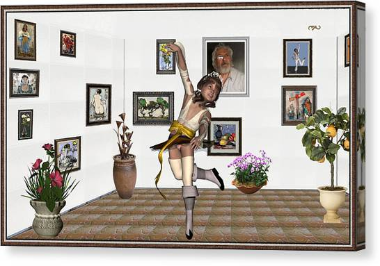 Statue Portrait Canvas Print - Digital Exhibartition _  Dancing Girl  by Pemaro