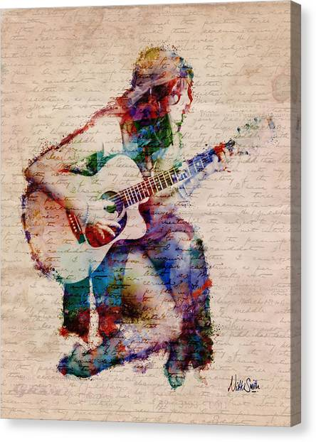 Acoustic Guitars Canvas Print - Gypsy Serenade by Nikki Smith