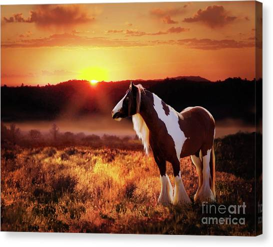 Canvas Print featuring the digital art Gypsy Sunset by Melinda Hughes-Berland