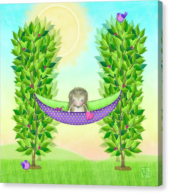 H Is For Hedgehog And Hammock Canvas Print