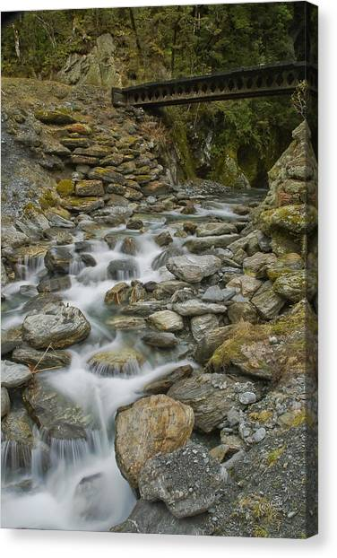 Haast Waterfall Canvas Print by Andrea Cadwallader