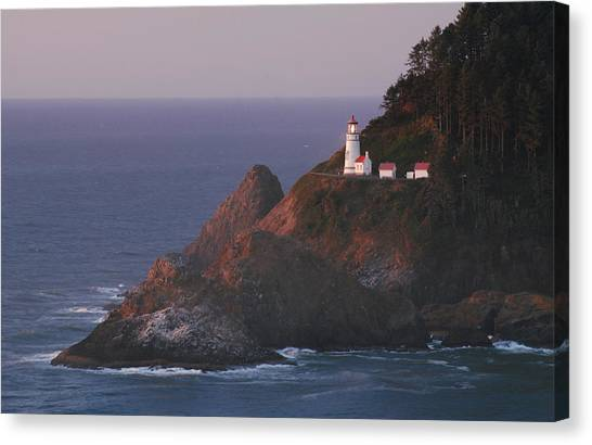 Haceta Head Lighthouse At Sunset Canvas Print