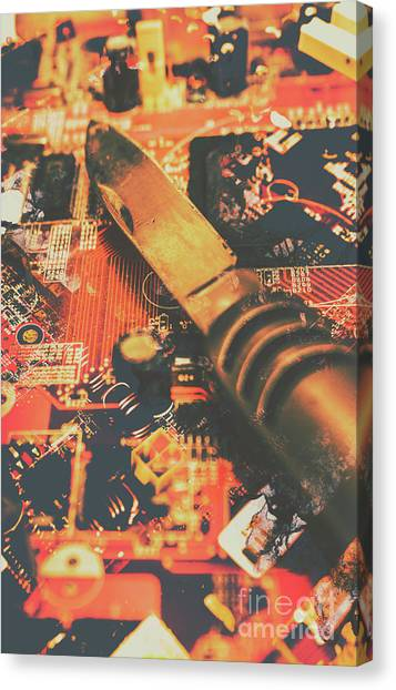 Connection Canvas Print - Hacking Knife On Circuit Board by Jorgo Photography - Wall Art Gallery