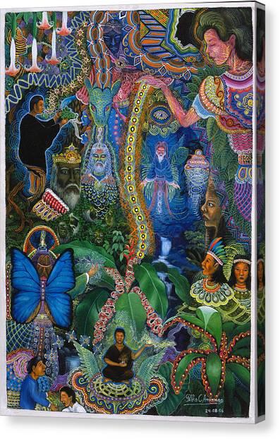 Canvas Print featuring the painting Hada De Pero Nuga by Pablo Amaringo