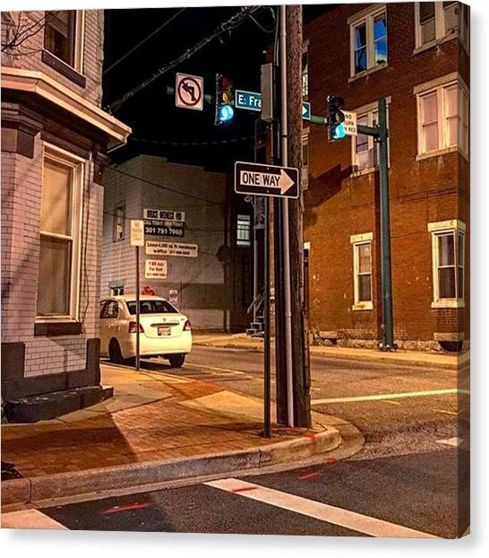 Stoplights Canvas Print - Hagerstown Night Lights.  #hagerstown by Rob Murray