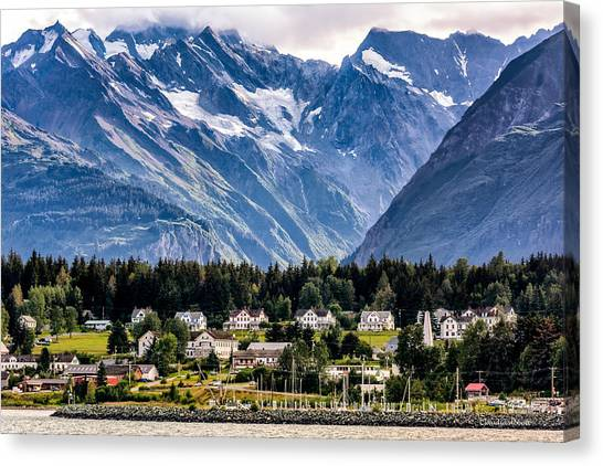 Haines, Alaska Surrounded In Mountains Canvas Print