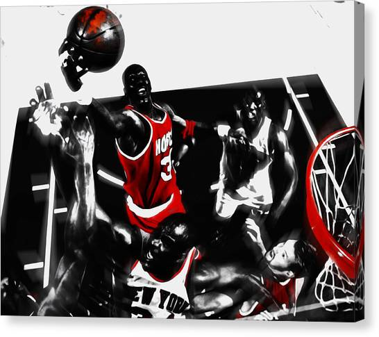 Toronto Raptors Canvas Print - Hakeem Olajuwon Above The Rest by Brian Reaves