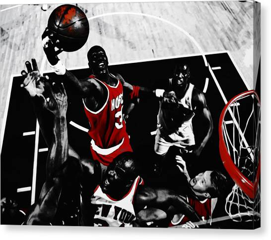 Toronto Raptors Canvas Print - Hakeem Olajuwon Gimme Dat by Brian Reaves