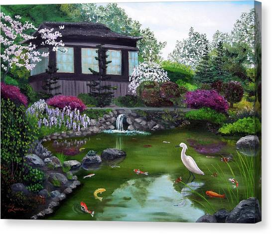 Snowy Egret Canvas Print - Hakone Gardens Pond In The Spring by Laura Iverson