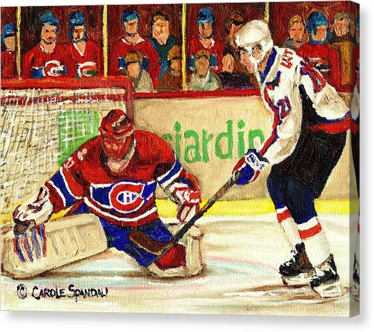 Afterschool Hockey Montreal Canvas Print - Halak Makes Another Save by Carole Spandau