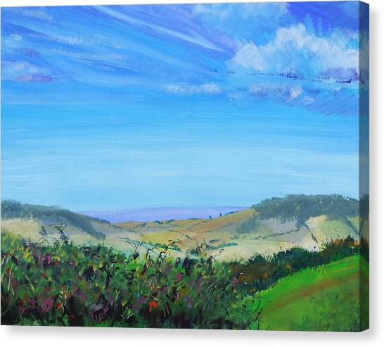 Haldon Hills Sea View Canvas Print