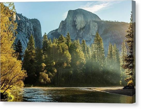 Half Dome And Merced River Autumn Sunrise Canvas Print