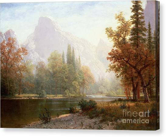 Rivers Canvas Print - Half Dome Yosemite by Albert Bierstadt