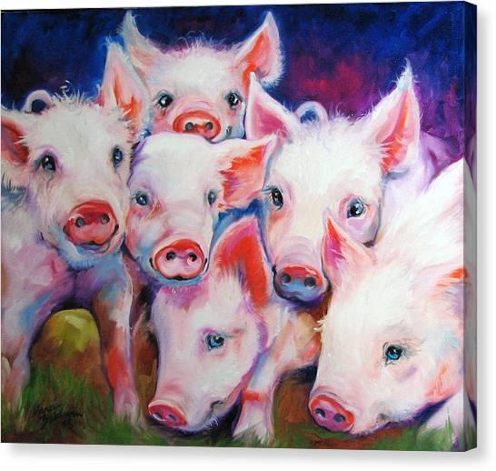 Pig Farms Canvas Print - Half Dozen Piglets by Marcia Baldwin