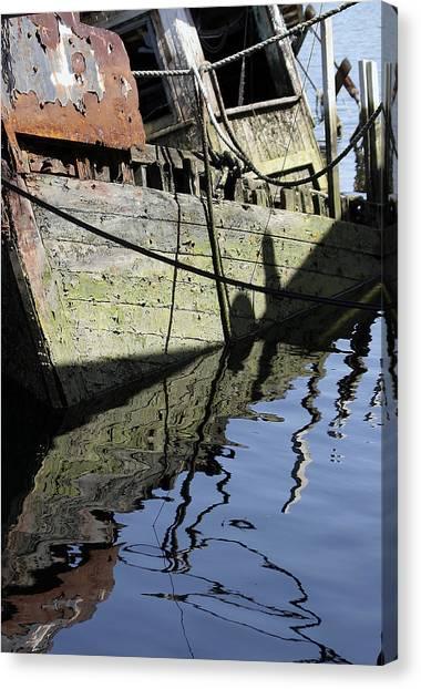 Canvas Print featuring the digital art Half Sunk Boat by Bob Slitzan