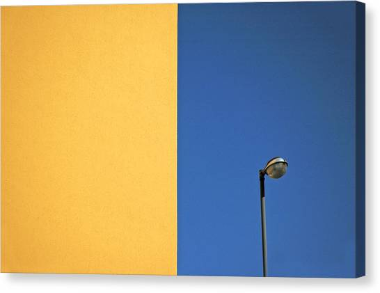 Colorful Canvas Print - Half Yellow Half Blue by Silvia Ganora