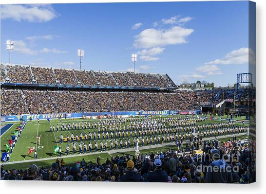 West Virginia University Wvu Canvas Print - Halftime At Mountaineer Field by Kenneth Lempert