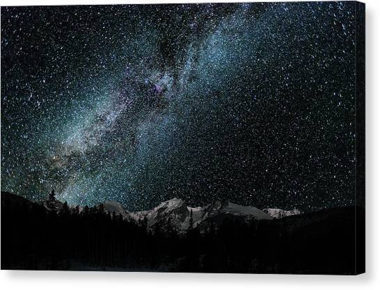 Canvas Print featuring the photograph Hallet Peak - Milky Way by Gary Lengyel