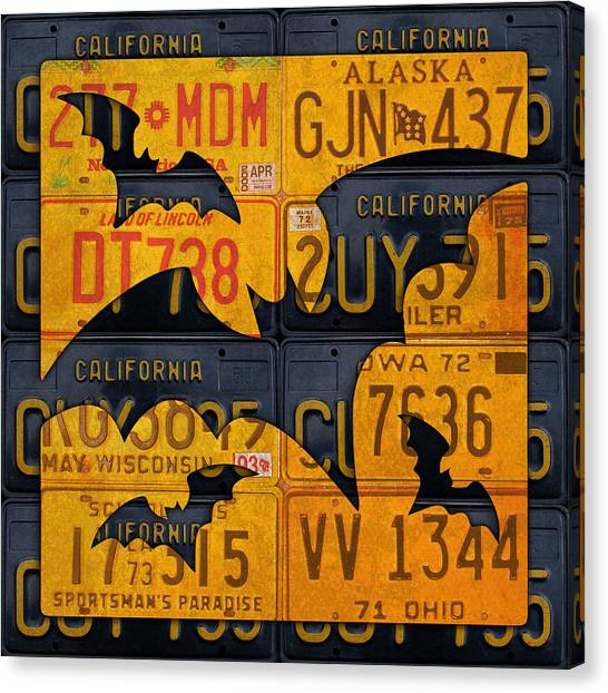 Halloween Canvas Print - Halloween Bats Recycled Vintage License Plate Art by Design Turnpike