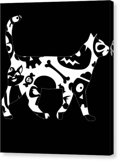 Ocicats Canvas Print - Halloween Cat Black And White by Kaylin Watchorn