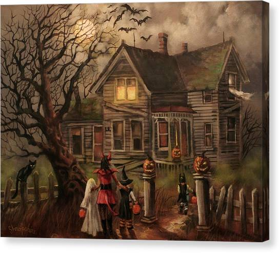 Haunted House Canvas Print - Halloween Dare by Tom Shropshire