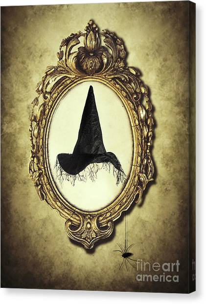 Hat Trick Canvas Print - Halloween Frame With Witches Hat by Amanda Elwell