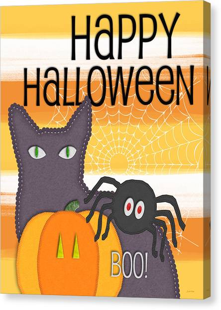 Spiders Canvas Print - Halloween Friends- Art By Linda Woods by Linda Woods